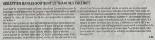 La Provence - S.Barles soutient le tramway des collines