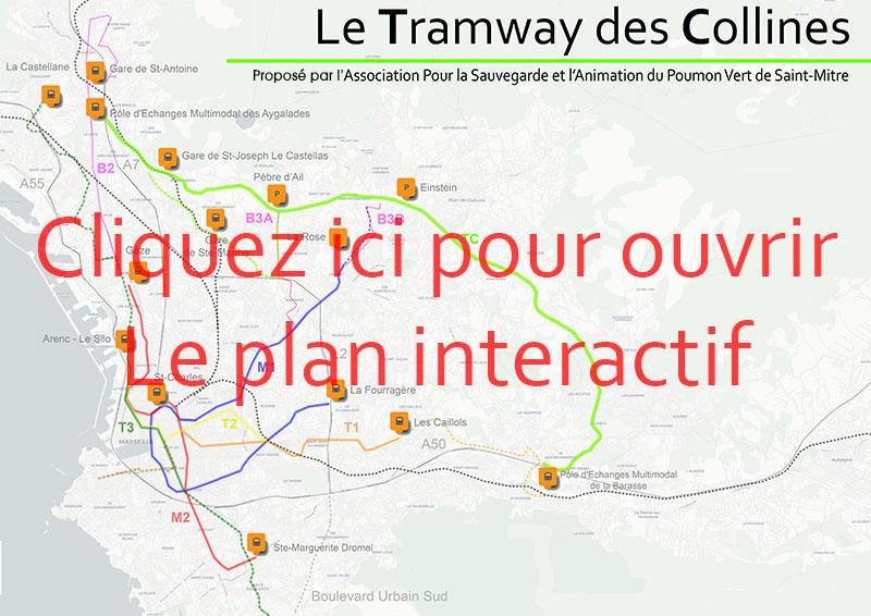 Plan interactif du Tramway des Collines sur OpenStreetMap